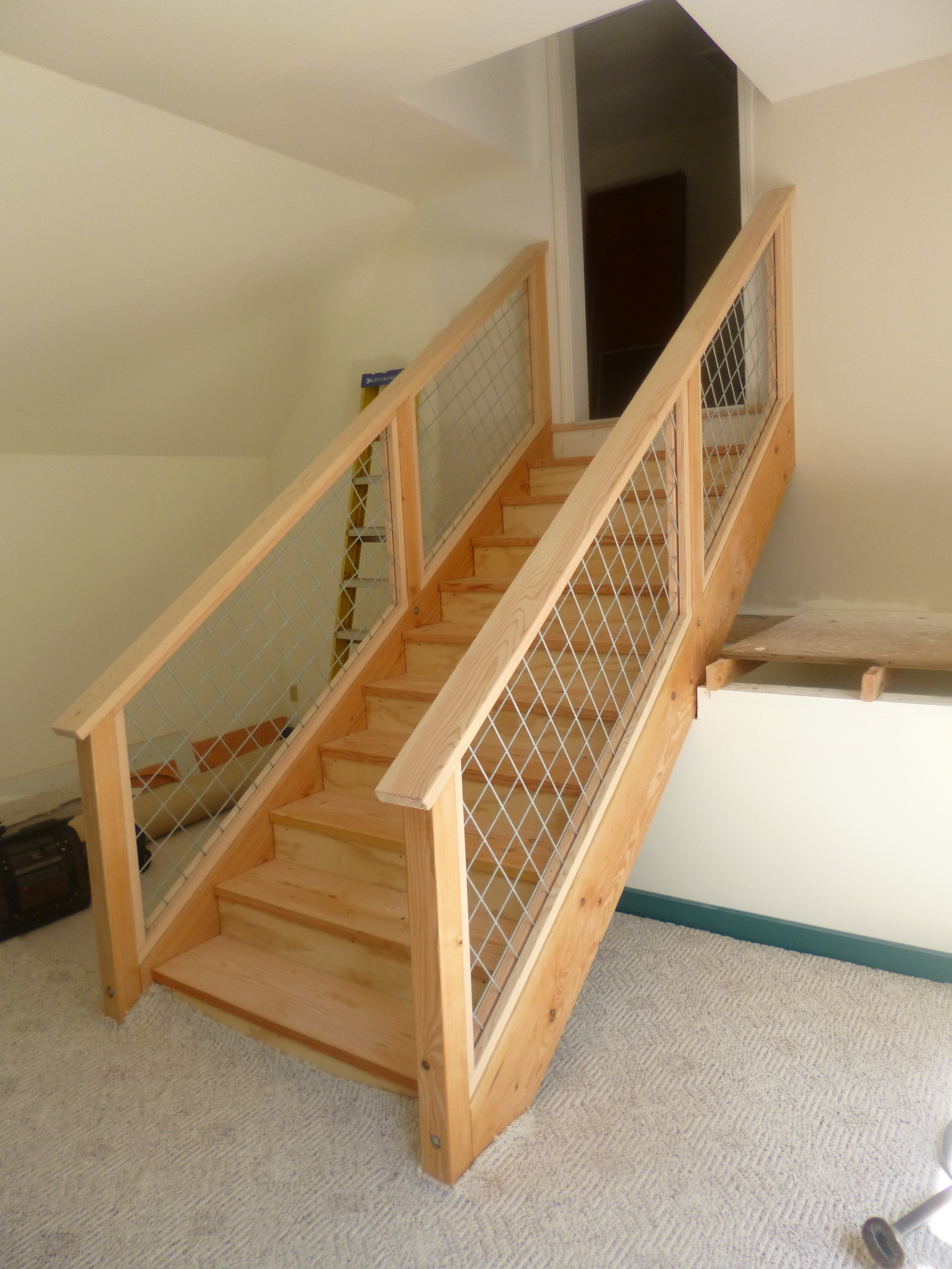 Timber Staircase With Hog Wire Railing Whidbey Island